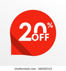 Sale tag icon. 20 percent off. Price off and discount tag design element.