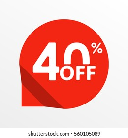 Sale tag icon. 40 percent off. Price off and discount tag design element.