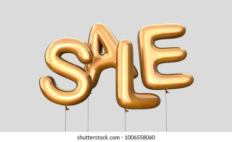 Sale template Made Of Golden Balloons. 3d Rendering Isolated on Gray Background.