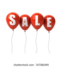 Sale text on red balloons isolated on white background. 3D rendering.