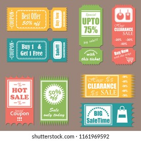 Sale tickets. Set of labels, coupons and tickets. Bright colors. Raster version of the illustration