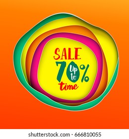 Sale time Inscription banner. Paper art cut layers. Colorfull background. Paper art cutout style for presentations, flyers, posters and banners.