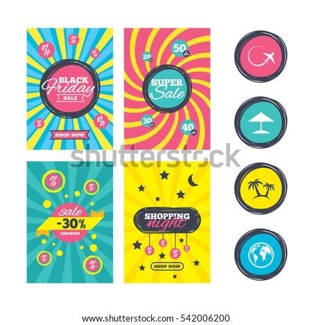 sale website banner templates travel trip stock illustration
