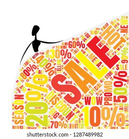 Sale Word Cloud Made of Different Percentages of Discounts. Sales  Concept. Collage for Fasion Design