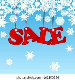 Sale word in red on a blue background with white snowflakes.seasonal christmas sale.raster