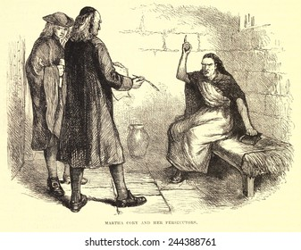 Salem Witch Trial. Martha Cory in jail for witchcraft with her prosecutors. She was convicted by 'spectral evidence' provided by the young Ann Putman. She was executed by hanging on Sept. 22, 1692.