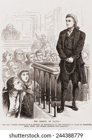 Salem Witch Trials. Puritan Rev. George Burroughs in chains during his trial for witchcraft. Cotton Mather attended his execution by hanging on August 19, 1692
