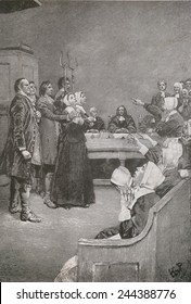 Salem Witch Trials. Two women stand on trial in 1682 with guards, as the accusing girls demonstrate their demonic afflictions. Illustration by Howard Pyle.