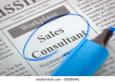 Sales Consultant - Advertisements and Classifieds Ads for Vacancy in Newspaper, Circled with a Blue Highlighter. Blurred Image. Selective focus. Hiring Concept. 3D Render.