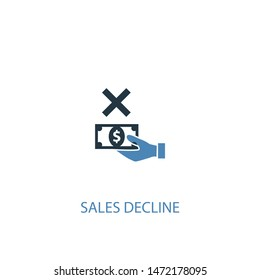 sales decline concept 2 colored icon. Simple blue element illustration. sales decline concept symbol design. Can be used for web and mobile UI/UX