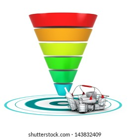 Sales funnel with 6 stages, easily customizable from 3 to 6 levels with a basket and a target. conceptual diagram suitable for marketing or business purpose.