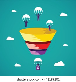 Sales funnel bitmap concept in flat style