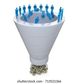 Sales Funnel over a white background in the design of information related to marketing. 3d illustration