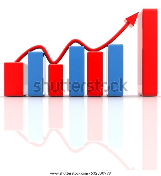 sales growth 3d Render Illustration.