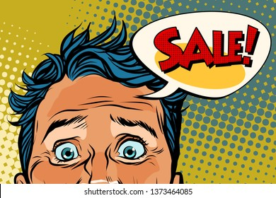 sales man eyes close-up, panic face. Pop art retro  illustration