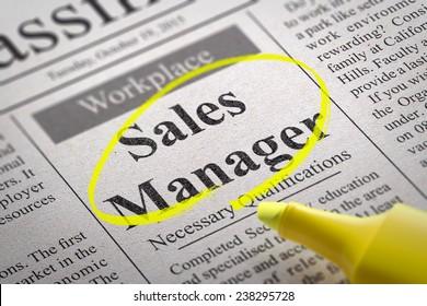 Sales Manager Jobs in Newspaper. Job Seeking Concept.