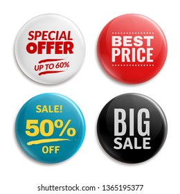 Sales pin badges. Circled badging button, 3d glossy price tag. Big sale, best price and special offer badges