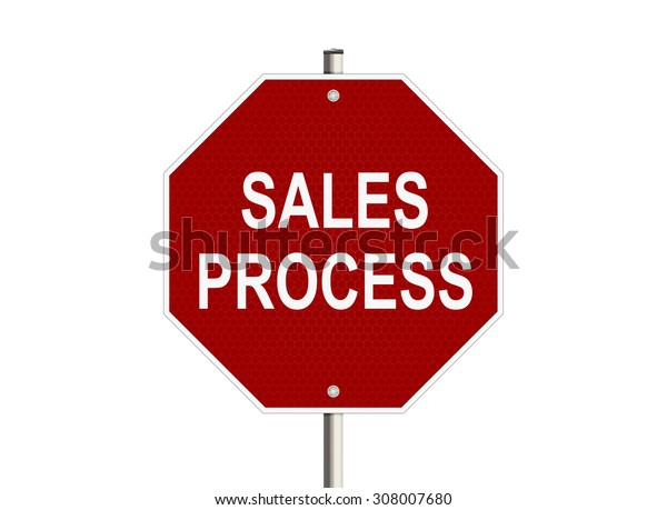Sales process. Road sign on the white background. Raster illustration.