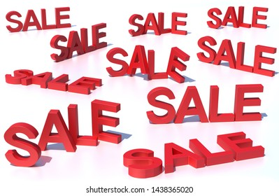 Sales promotion text. 3D illustration.