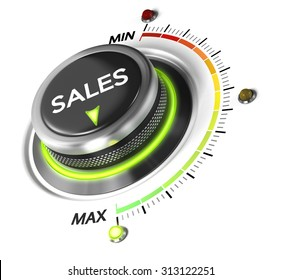 Sales switch button positioned on maximum, white background and blue light. Conceptual image for sales strategy and growth of incomes.