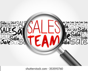 Sales Team sale word cloud with magnifying glass, business concept