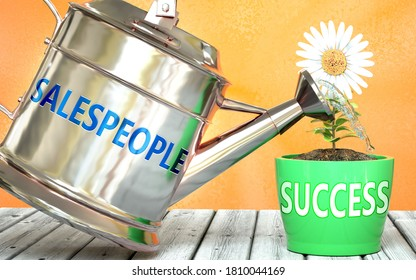 Salespeople helps achieve success - pictured as word Salespeople on a watering can to show that it makes success to grow and it is essential for profit in life, 3d illustration