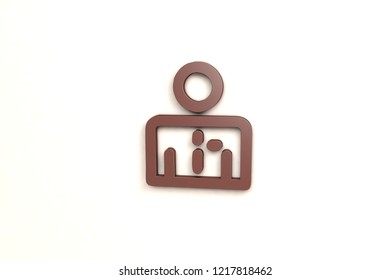 Salesperson 3D illustration, brown color on light background