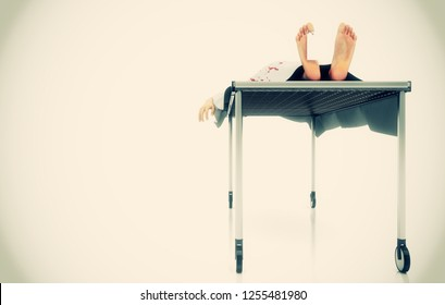 Salma on morgue bed with tag attached to the thumb, 3d illustration