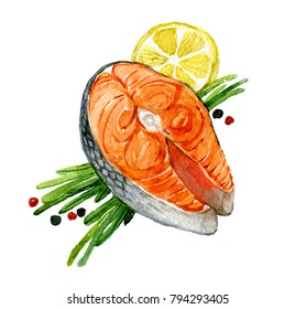 Salmon with lemon and herbs isolated on white background, watercolor illustration
