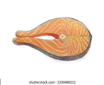 Salmon steak. Color pencil drawing