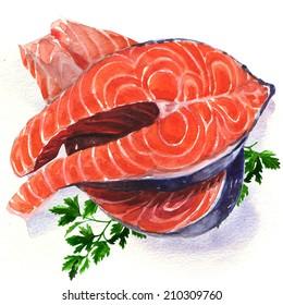 Salmon steak red fish