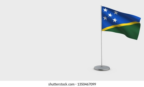 Salomon Islands 3D Flag isolated on white background. Waving in wind on steel flagpole.