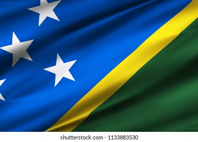 Salomon Islands 3D waving flag illustration. Texture can be used as background.