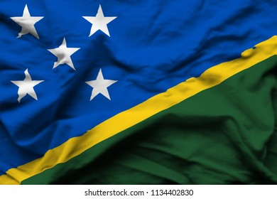 Salomon Islands 3D wrinkled flag illustration. Usable for background and texture.
