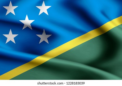 Salomon Islands modern and realistic closeup flag illustration. Perfect for background or texture purposes.