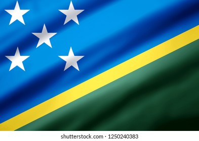Salomon islands modern and realistic closeup 3D flag illustration. Perfect for background or texture purposes.