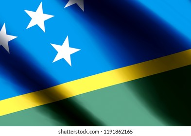 Salomon Islands stylish waving and closeup flag illustration. Perfect for background or texture purposes.