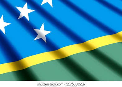 Salomon Islands waving and closeup flag illustration. Perfect for background or texture purposes.
