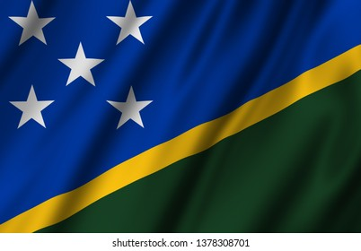 Salomon Islands waving flag illustration. Countries of Australia and Oceania. Perfect for background and texture usage.