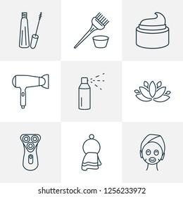 Salon icons line style set with cream, hairdryer, mascara and other washcloth elements. Isolated  illustration salon icons.