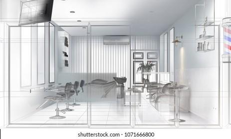 salon interior design wireframe,Interior sketch