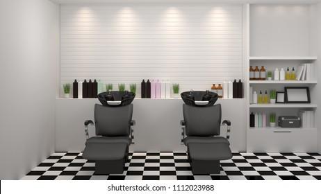 salon interior modern style,spa,beauty, 3d illustration,hairdresser,hair, nail salon,background