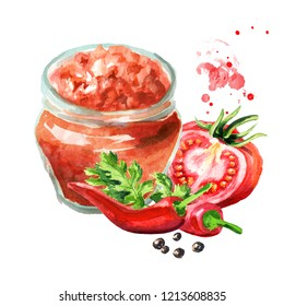 Salsa sauce in the bottle with ingredients. Watercolor hand drawn illustration  isolated on white background