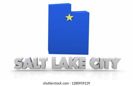 Salt Lake City Utah UT City State Map 3d Illustration