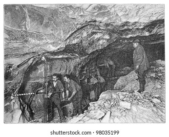 Salt mining / vintage illustration from Meyers Konversations-Lexikon 1897