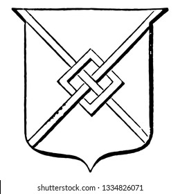Saltire Fretted has a charge consisting of two bendlets placed, vintage line drawing or engraving illustration.