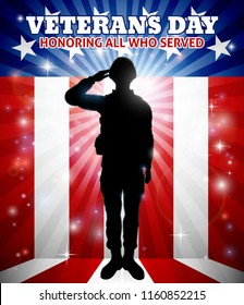 Saluting soldier with a patriotic Veterans Day American flag red, white and blue background