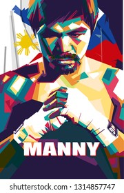 Samarinda, Indonesia - 2/17/2019 : an illustration of a boxing legend called manny pacman pop art style isolated
