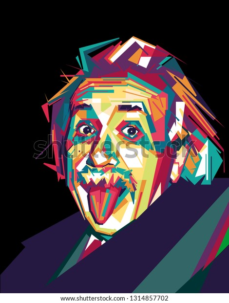 Samarinda, Indonesia - 2/17/2019 : an illustration of a old man face inspired by albert einstein pop art style isolated