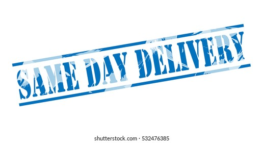 same day delivery blue stamp on white background